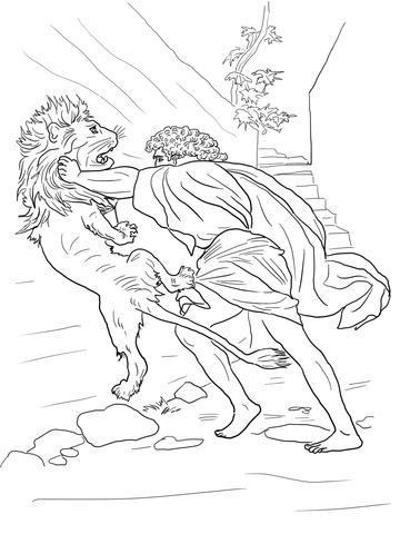samson fighting lion coloring page